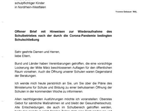 Offener Brief des Ministeriums für Schule und Bildung NRW